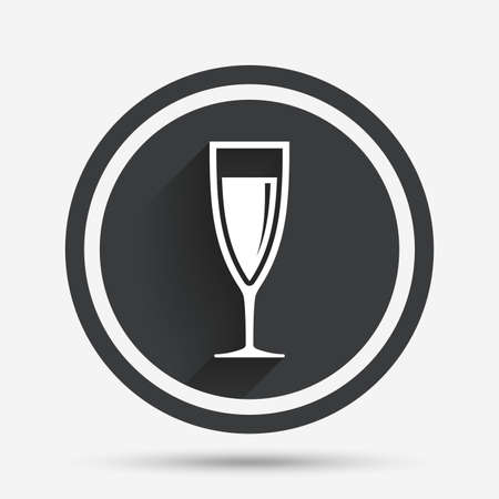 champagne celebration: Glass of champagne sign icon. Sparkling wine. Celebration or banquet alcohol drink symbol. Circle flat button with shadow and border. Vector