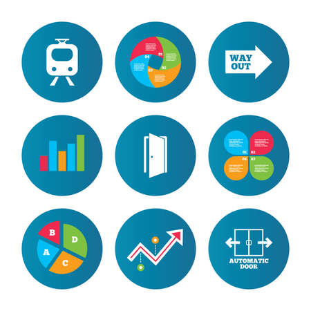 way out: Business pie chart. Growth curve. Presentation buttons. Train railway icon. Automatic door symbol. Way out arrow sign. Data analysis. Vector