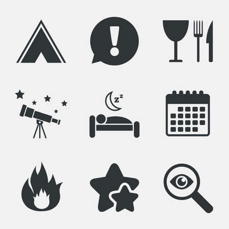 breakfast in bed: Food, sleep, camping tent and fire icons. Knife, fork and wineglass. Hotel or bed and breakfast. Road signs. Attention, investigate and stars icons. Telescope and calendar signs. Vector