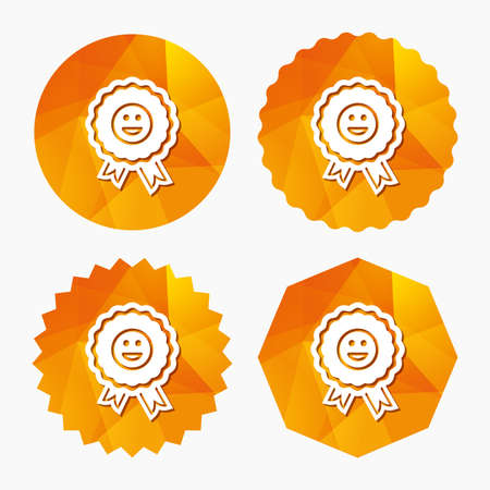 triangular eyes: Award smile icon. Happy face medal symbol. Triangular low poly buttons with flat icon. Vector