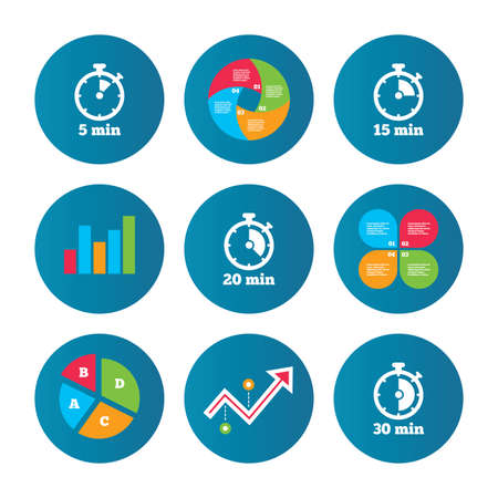 15 to 20: Business pie chart. Growth curve. Presentation buttons. Timer icons. 5, 15, 20 and 30 minutes stopwatch symbols. Data analysis. Vector Illustration