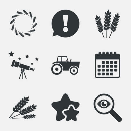 tractor warning: Agricultural icons. Wheat corn or Gluten free signs symbols. Tractor machinery. Attention, investigate and stars icons. Telescope and calendar signs. Vector