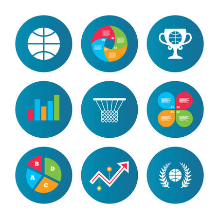 curve ball: Business pie chart. Growth curve. Presentation buttons. Basketball sport icons. Ball with basket and award cup signs. Laurel wreath symbol. Data analysis. Vector
