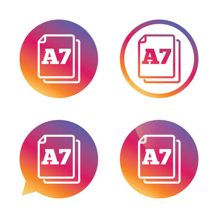 a7: Paper size A7 standard icon. File document symbol. Gradient buttons with flat icon. Speech bubble sign. Vector Illustration