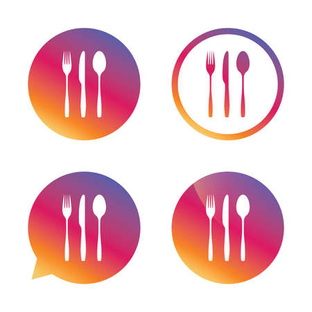 flatwares: Fork, knife, tablespoon sign icon. Cutlery collection set symbol. Gradient buttons with flat icon. Speech bubble sign. Vector Illustration