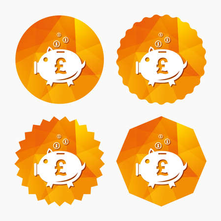 Piggy bank sign icon. Moneybox pound symbol. Triangular low poly buttons with flat icon. Vector Illustration