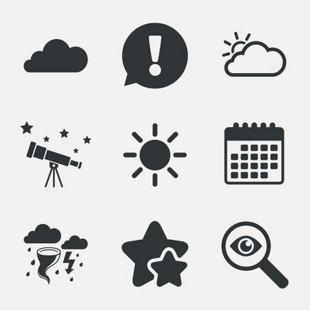gale: Weather icons. Cloud and sun signs. Storm or thunderstorm with lightning symbol. Gale hurricane. Attention, investigate and stars icons. Telescope and calendar signs. Vector