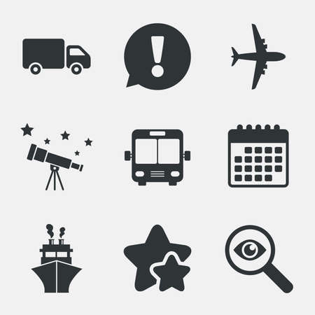 mail truck: Transport icons. Truck, Airplane, Public bus and Ship signs. Shipping delivery symbol. Air mail delivery sign. Attention, investigate and stars icons. Telescope and calendar signs. Vector