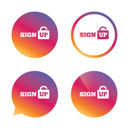 lock up: Sign up sign icon. Registration symbol. Lock icon. Gradient buttons with flat icon. Speech bubble sign. Vector