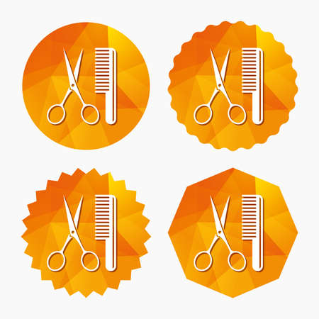 Comb hair with scissors sign icon. Barber symbol. Triangular low poly buttons with flat icon. Vector