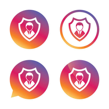 Security agency sign icon. Shield protection symbol. Gradient buttons with flat icon. Speech bubble sign. Vector Illustration