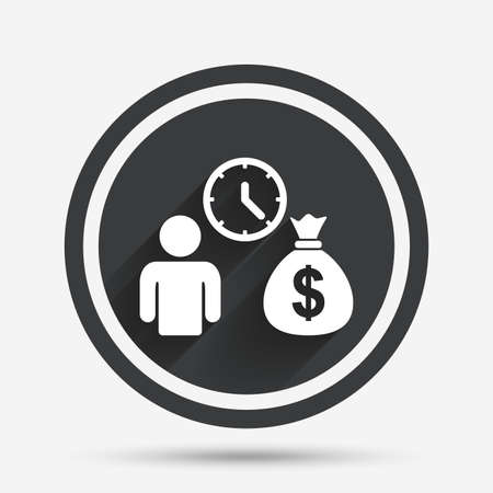 fast money: Bank loans sign icon. Get money fast symbol. Borrow money. Circle flat button with shadow and border. Vector Illustration