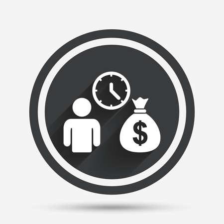banco dinero: Los créditos bancarios icono de la muestra. Obtener símbolo de dinero rápido. Prestar dinero. botón plano círculo con sombra y la frontera. Vector Vectores