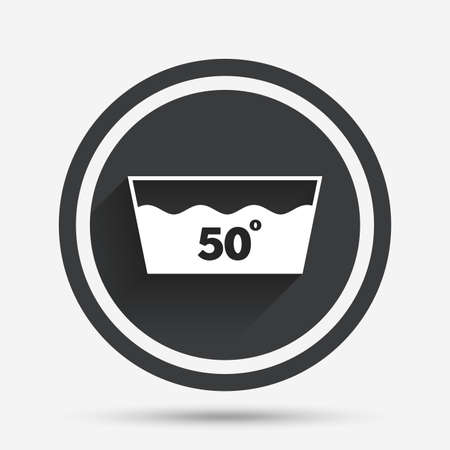 washbowl: Wash icon. Machine washable at 50 degrees symbol. Circle flat button with shadow and border. Vector
