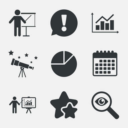 demand: Diagram graph Pie chart icon. Presentation billboard symbol. Supply and demand. Man standing with pointer. Attention, investigate and stars icons. Telescope and calendar signs. Vector