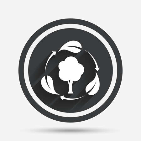 on air sign: Fresh air sign icon. Forest tree with leaves symbol. Circle flat button with shadow and border. Vector