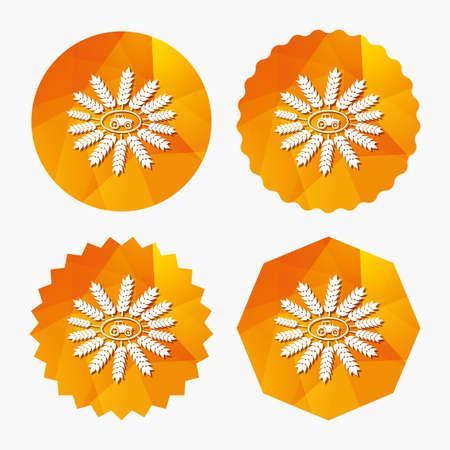 agricultural industry: Tractor with wreath of Wheat corn sign icon. Agricultural industry symbol. Triangular low poly buttons with flat icon. Vector