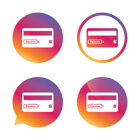 debit: Credit card sign icon. Debit card symbol. Virtual money. Gradient buttons with flat icon. Speech bubble sign. Vector