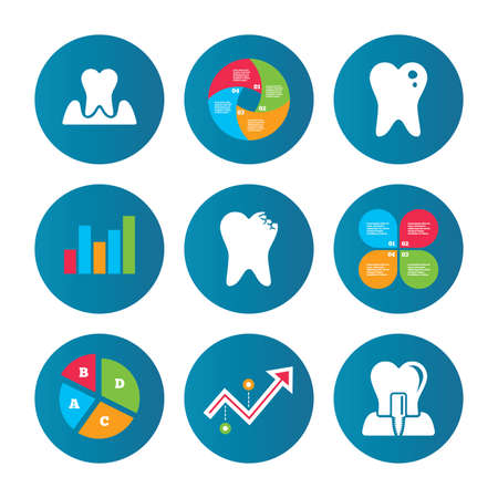 gingivitis: Business pie chart. Growth curve. Presentation buttons. Dental care icons. Caries tooth sign. Tooth endosseous implant symbol. Parodontosis gingivitis sign. Data analysis. Vector