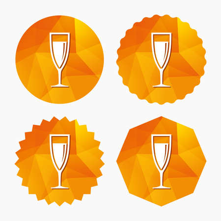 champagne celebration: Glass of champagne sign icon. Sparkling wine. Celebration or banquet alcohol drink symbol. Triangular low poly buttons with flat icon. Vector
