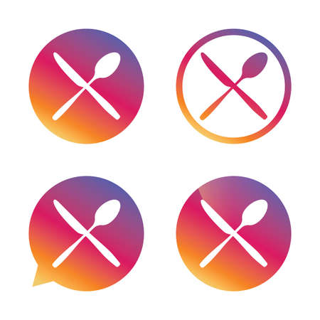 Eat sign icon. Cutlery symbol. Knife and spoon crosswise. Gradient buttons with flat icon. Speech bubble sign. Vector