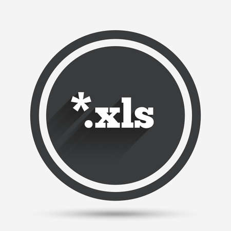 excel: Excel file document icon. Download xls button. XLS file extension symbol. Circle flat button with shadow and border. Vector