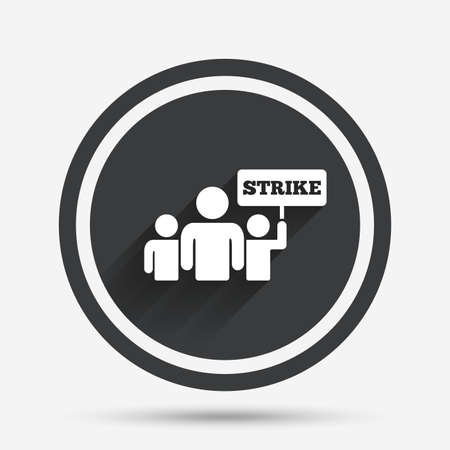 activists: Strike sign icon. Group of people symbol. Industrial action. People holding protest banner. Circle flat button with shadow and border. Vector Illustration