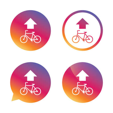 trail sign: Bicycle path trail sign icon. Cycle path. Up straight arrow symbol. Gradient buttons with flat icon. Speech bubble sign. Vector