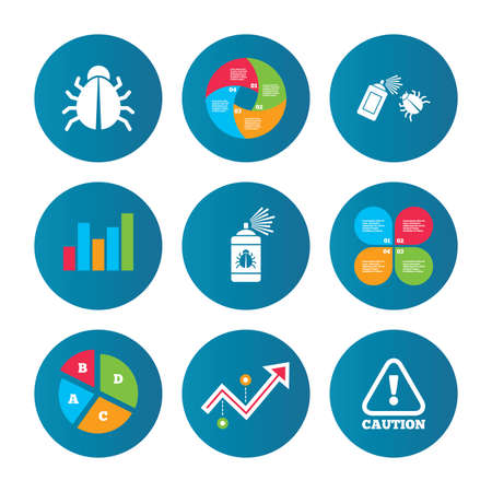 acarus: Business pie chart. Growth curve. Presentation buttons. Bug disinfection icons. Caution attention symbol. Insect fumigation spray sign. Data analysis. Vector