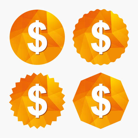 Dollars sign icon. USD currency symbol. Money label. Triangular low poly buttons with flat icon. Vector