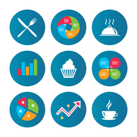 growth hot: Business pie chart. Growth curve. Presentation buttons. Food and drink icons. Muffin cupcake symbol. Fork and knife sign. Hot coffee cup. Food platter serving. Data analysis. Vector