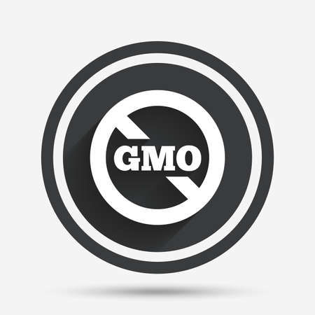 gmo: No GMO sign icon. Without Genetically modified food. Stop GMO. Circle flat button with shadow and border. Vector