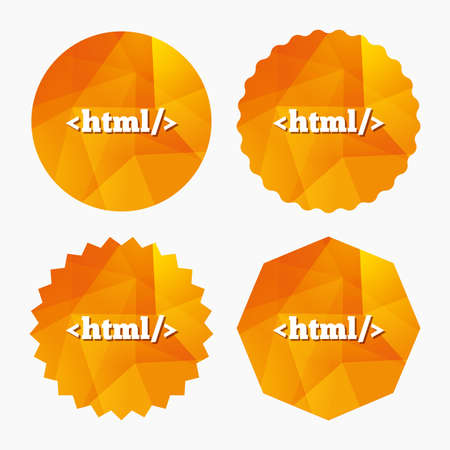 markup: HTML sign icon. Markup language symbol. Triangular low poly buttons with flat icon. Vector Illustration