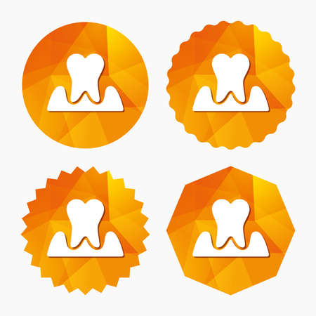 inflammation: Parodontosis tooth icon. Gingivitis sign. Inflammation of gums symbol. Triangular low poly buttons with flat icon. Vector