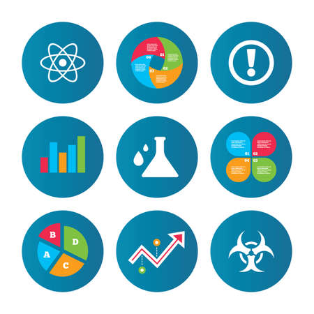 arrow poison: Business pie chart. Growth curve. Presentation buttons. Attention and biohazard icons. Chemistry flask sign. Atom symbol. Data analysis. Vector