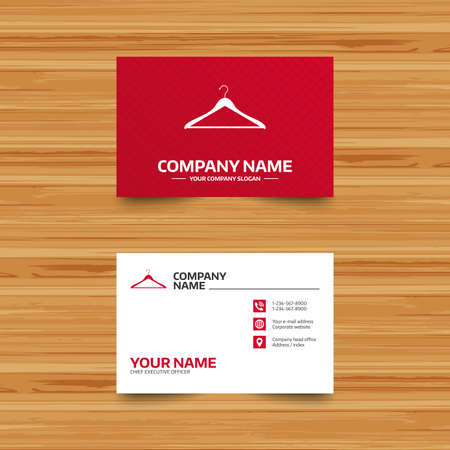 cloakroom: Business card template. Hanger sign icon. Cloakroom symbol. Phone, globe and pointer icons. Visiting card design. Vector