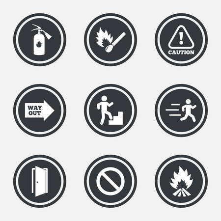 emergency attention: Fire safety, emergency icons. Fire extinguisher, exit and attention signs. Caution, water drop and way out symbols. Circle flat buttons with icons and border. Vector