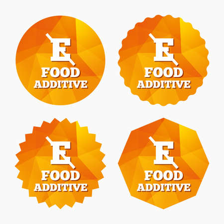 preservatives: Food additive sign icon. Without E symbol. Healthy natural food. Triangular low poly buttons with flat icon. Vector Illustration
