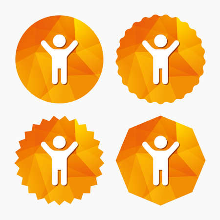 child boy: Child icon. Happy young boy symbol. Person silhouette. Triangular low poly buttons with flat icon. Vector Illustration