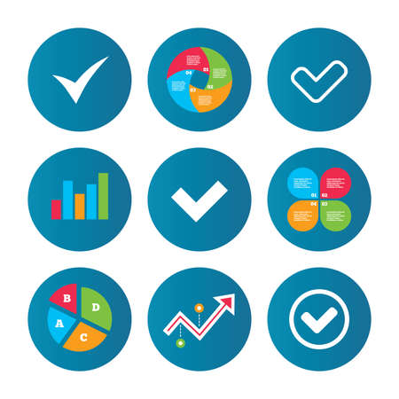 checkbox: Business pie chart. Growth curve. Presentation buttons. Check icons. Checkbox confirm circle sign symbols. Data analysis. Vector