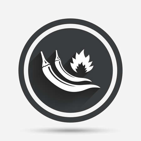 peppers: Hot chili peppers sign icon. Spicy food fire symbol. Circle flat button with shadow and border. Vector