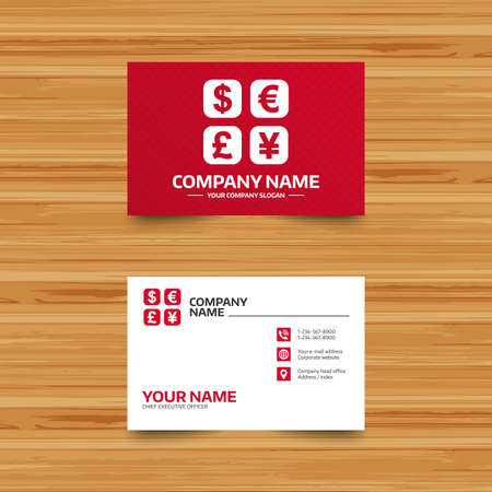 converter: Business card template. Currency exchange sign icon. Currency converter symbol. Money label. Phone, globe and pointer icons. Visiting card design. Vector