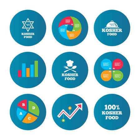 kosher: Business pie chart. Growth curve. Presentation buttons. Kosher food product icons. Chef hat with fork and spoon sign. Star of David. Natural food symbols. Data analysis. Vector