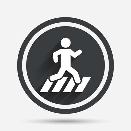 crossing street: Crosswalk icon. Crossing street sign. Circle flat button with shadow and border. Vector