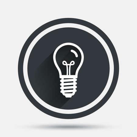 enchufe de luz: Light bulb icon. Lamp E14 screw socket symbol. Illumination sign. Circle flat button with shadow and border. Vector