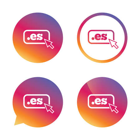 vector es: Domain ES sign icon. Top-level internet domain symbol with cursor pointer. Gradient buttons with flat icon. Speech bubble sign. Vector