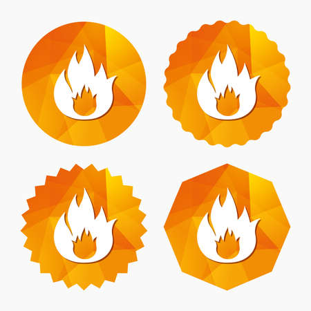escape: Fire flame sign icon. Fire symbol. Stop fire. Escape from fire. Triangular low poly buttons with flat icon. Vector