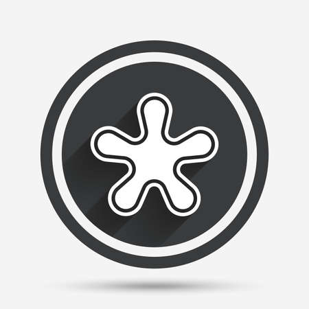 more information: Asterisk round footnote sign icon. Star note symbol for more information. Circle flat button with shadow and border. Vector Illustration