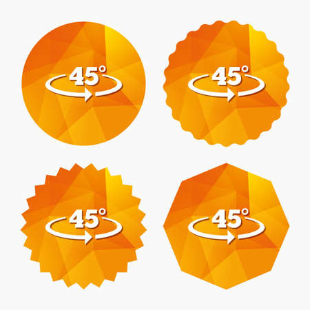 45: Angle 45 degrees sign icon. Geometry math symbol. Triangular low poly buttons with flat icon. Vector