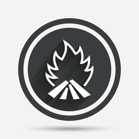 fire circle: Fire flame sign icon. Heat symbol. Stop fire. Escape from fire. Circle flat button with shadow and border. Vector Illustration
